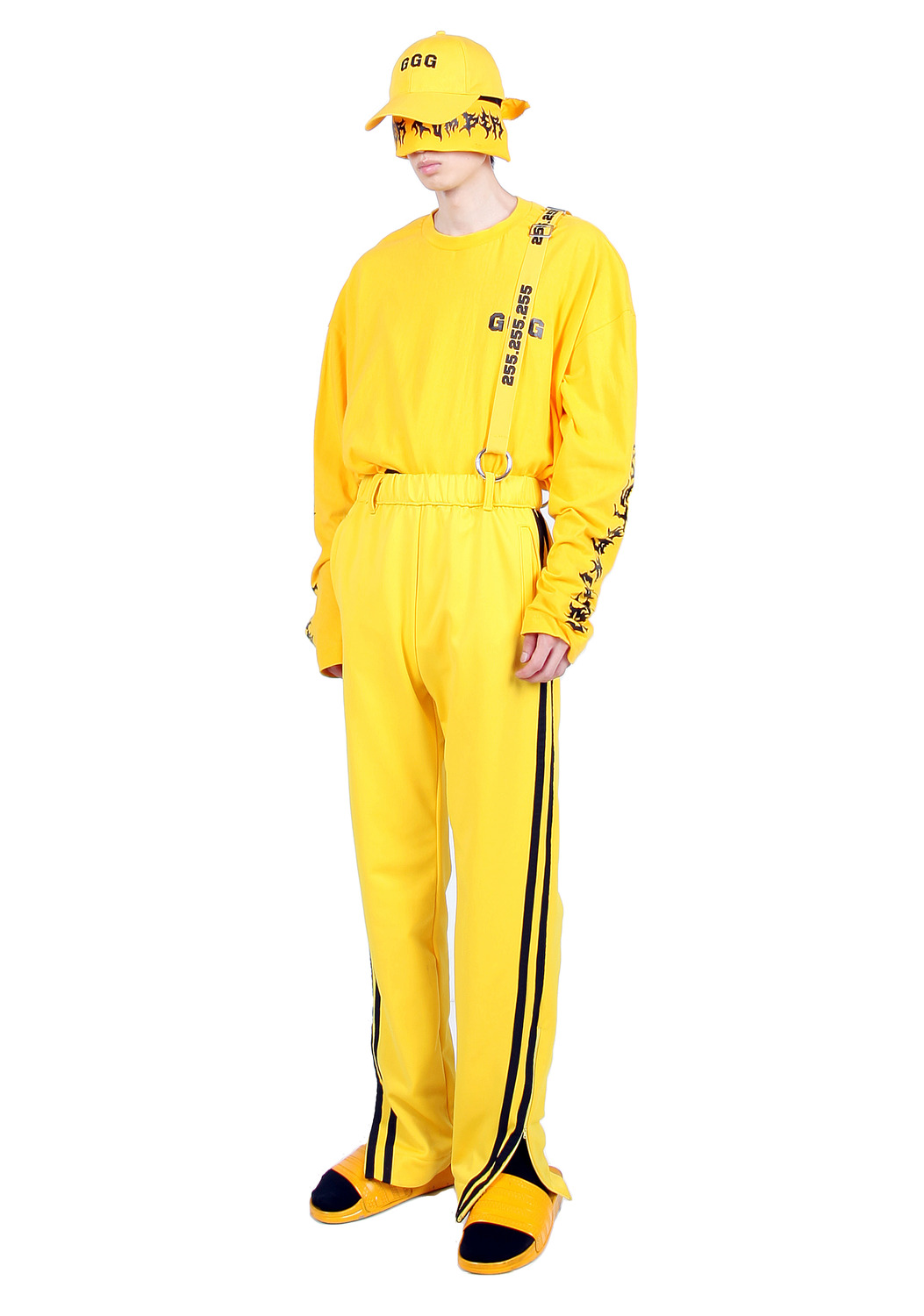 YELLOW OPEN HEM TRACK PANTS