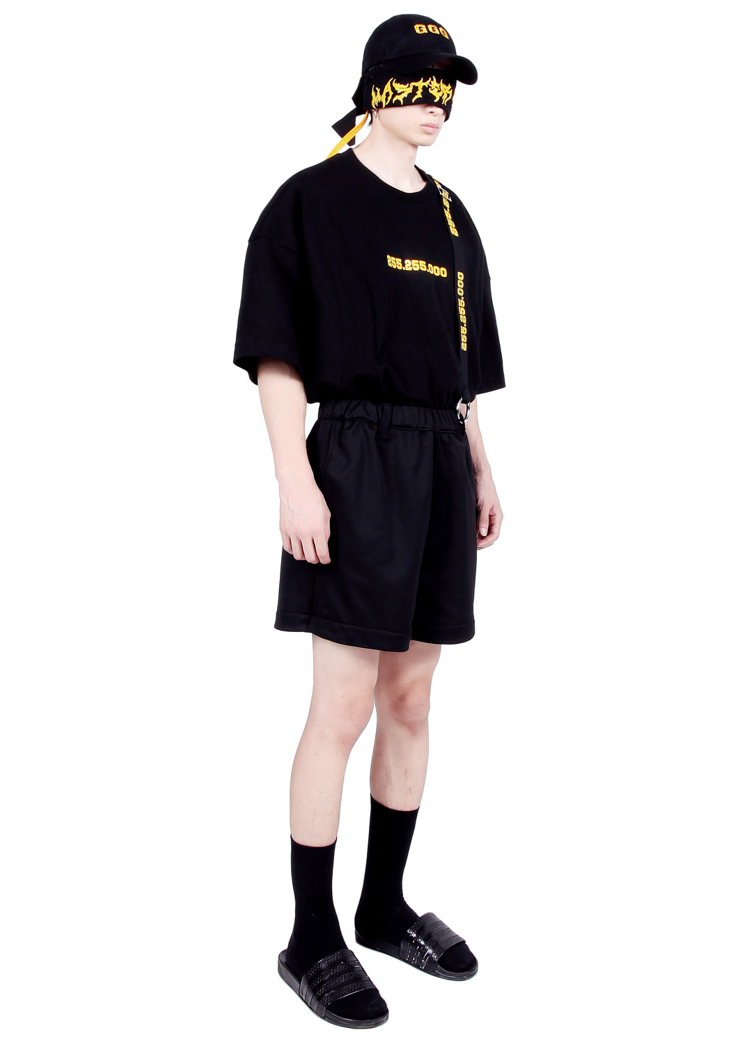 BLACK SUSPENDER SHORTS