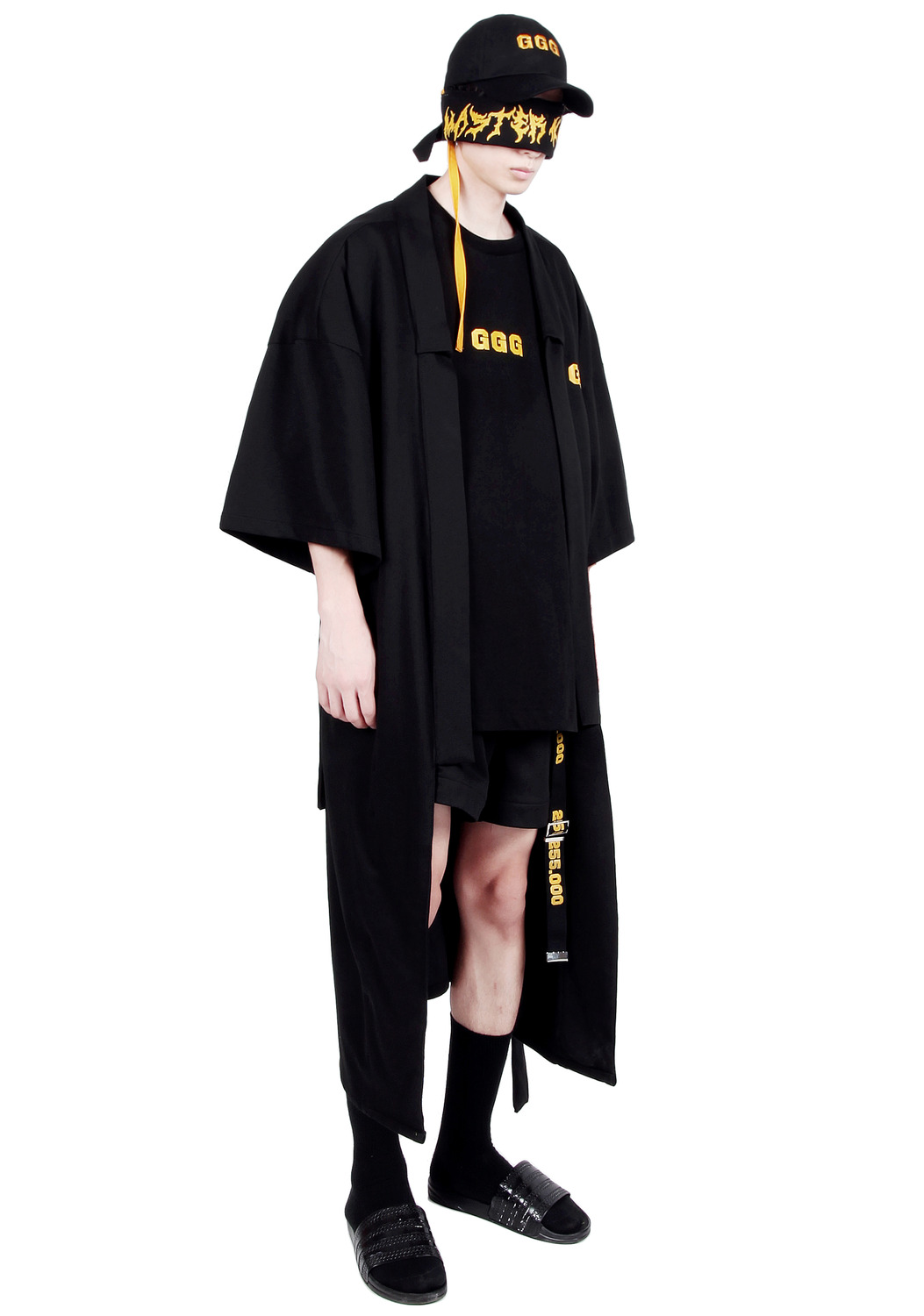 BLACK LONG ROBE COAT